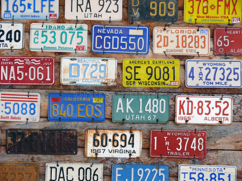 Collection Of Old License Plates Stock Image - Image of colorful ...