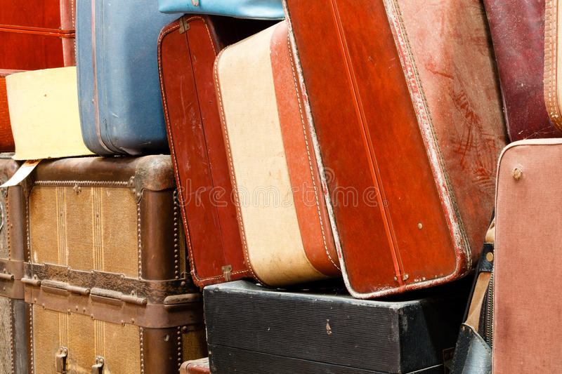 Collection of old luggage and baggage on display at the train mu stock image