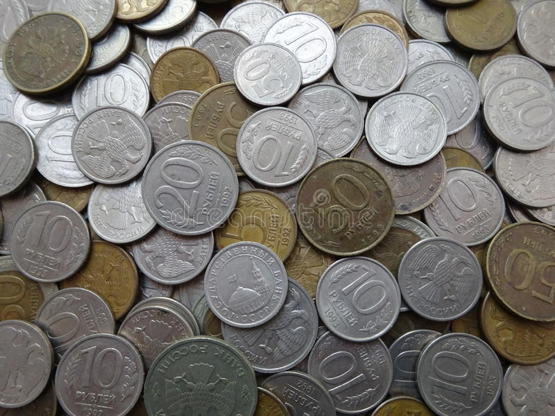 Collection of old Russian coins: coins background royalty free stock image