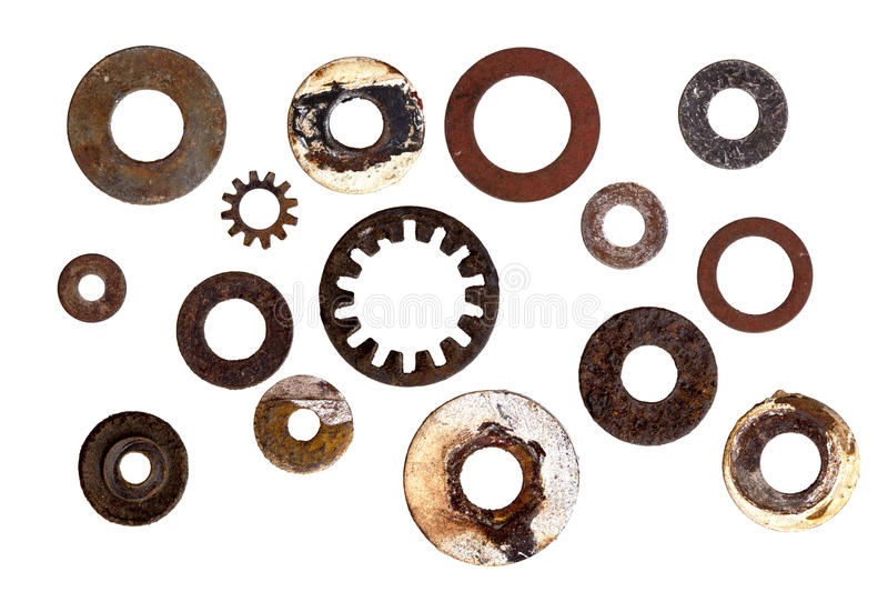 Collection of Old Rusty Washers Isolated. Collection of rusty old washers, isolated on white background stock photo
