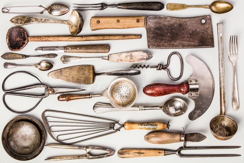 Collection of old vintage cutlery stock images