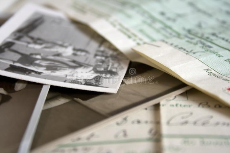 A collection of old vintage family documents stock image