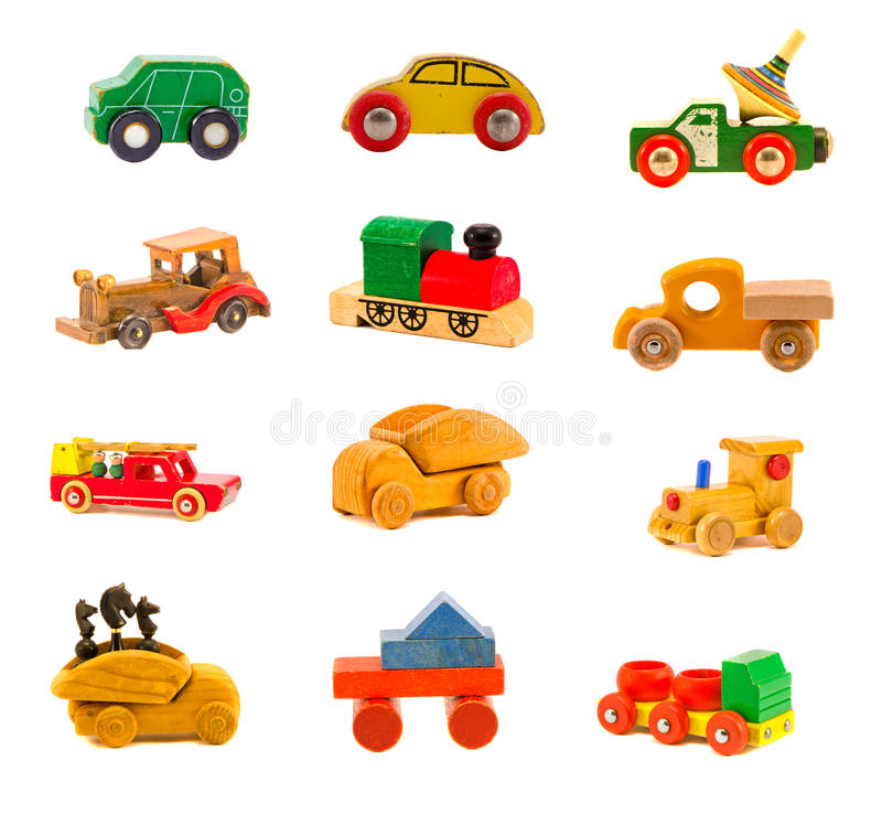 Collection old wooden colorful car truck toys model. Collection old wooden colorful various car truck toys model on white. Twelve objects royalty free stock photography