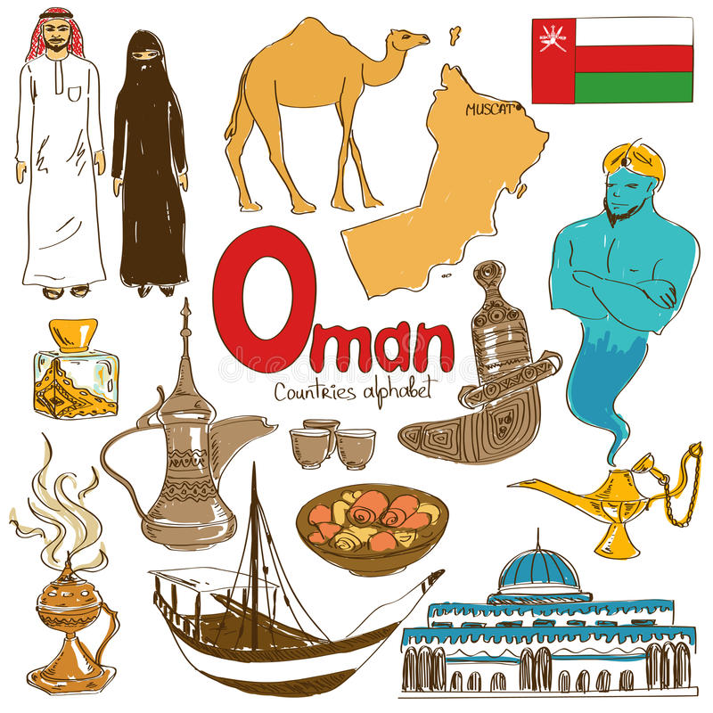 Collection of Oman icons. Fun colorful sketch collection of Oman icons, countries alphabet vector illustration