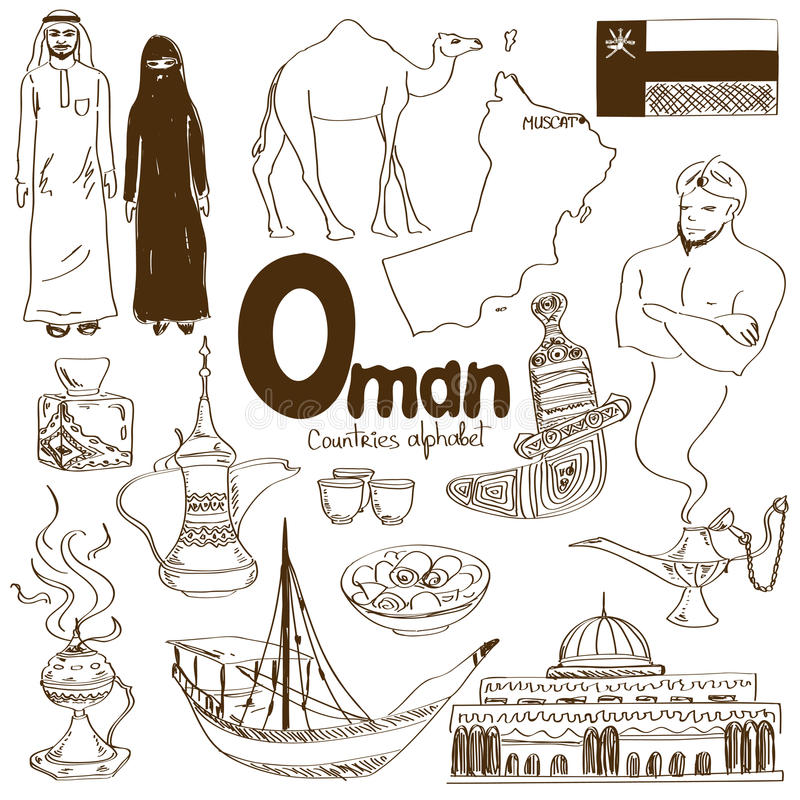 Collection of Oman icons stock illustration