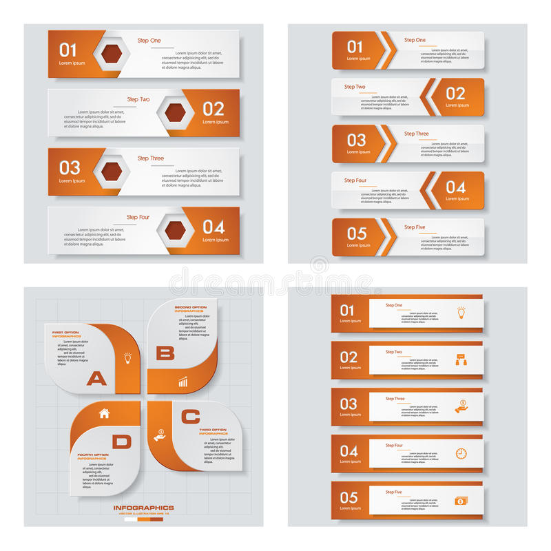 Collection of 4 orange color template graphic or website layout. Vector Background. For your idea and presentation royalty free illustration