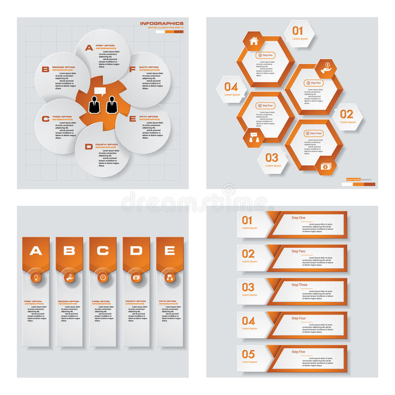 Collection of 4 orange color template/graphic or website layout. Vector Background. For your idea and presentation stock illustration