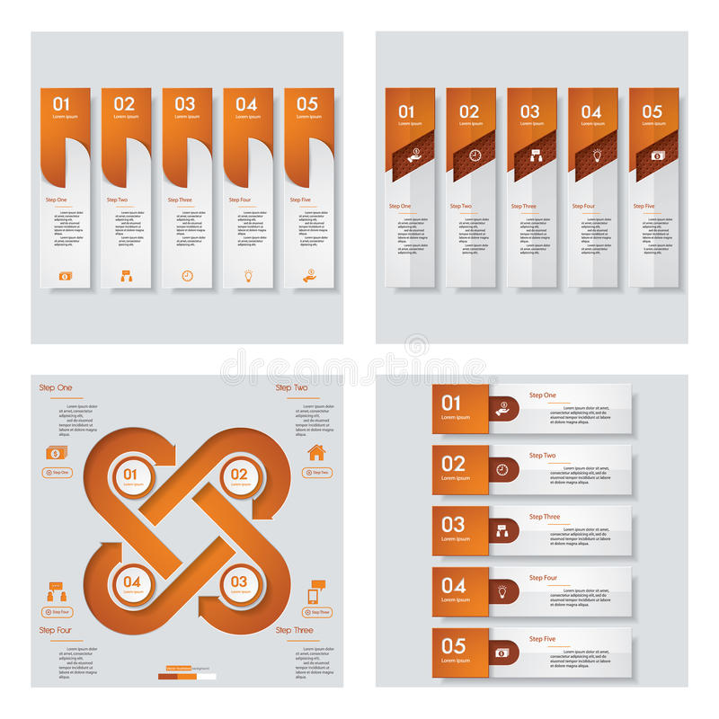 Collection of 4 orange color template/graphic or website layout. Vector Background. For your idea and presentation vector illustration