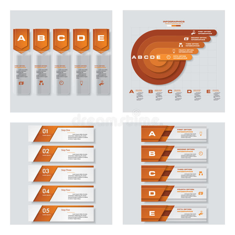 Collection of 4 orange color template/graphic or website layout. Vector Background. For your idea and presentation royalty free illustration