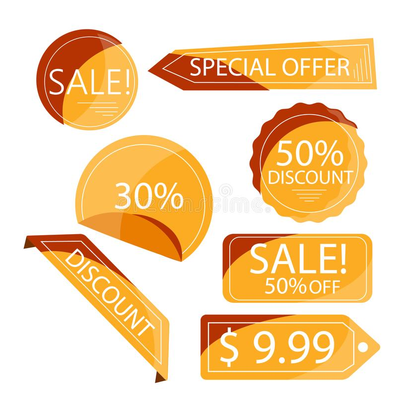 Collection orange discount stickers, isolated on white stock images