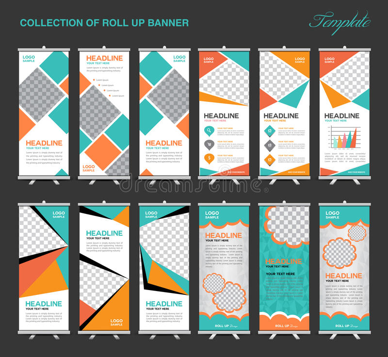 Collection of Orange and green Roll Up Banner Design polygon background royalty free illustration