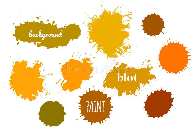 Collection Orange Paint Splash. Vector set of Brush Strokes. royalty free illustration