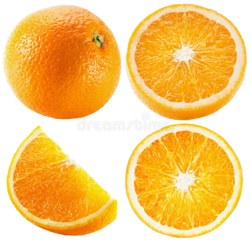 Collection of oranges isolated on the white background royalty free stock photo