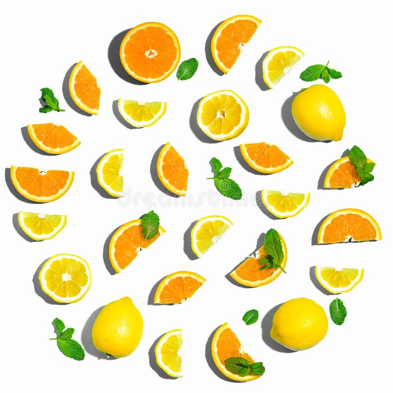 Collection of oranges and lemons royalty free stock photo