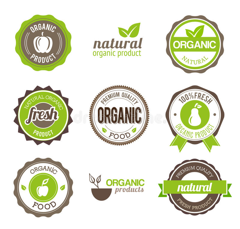 Organic Eco Badges stock illustration