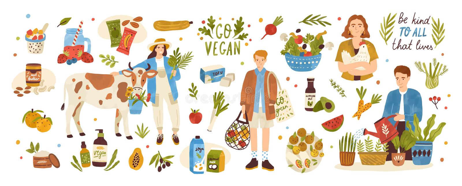 Collection of organic eco vegan products - natural cosmetics, vegetables, fruits, berries, tofu, nut butter, soy and. Coconut milk. Urban gardening and farming royalty free illustration