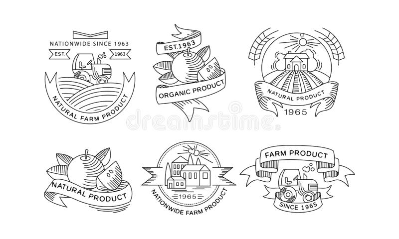 Collection of organic farm products logos, retro labels, emblems for farm market, natural products packaging, restaurant. Menu, fresh eco frindly food vector vector illustration