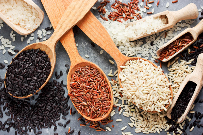 Collection organic rice stock photos