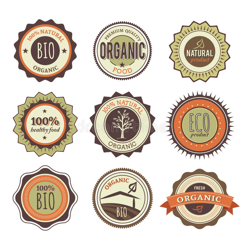 Collection of Organic Vintage Badges. Collection of Organic Retro Badges stock illustration