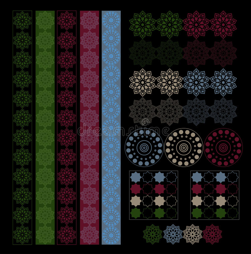 Collection orient arabic texture design with borders stock for Arabesque style decoration