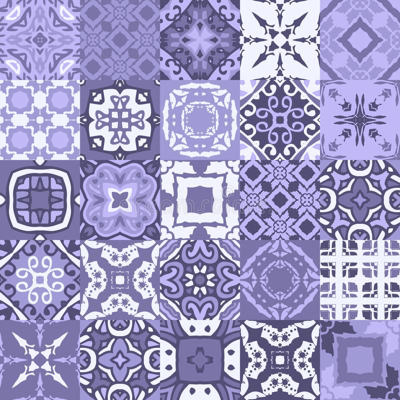 Collection of oriental ceramic tiles in blue tones. Seamless vector patchwork pattern with ornamental motifs vector illustration