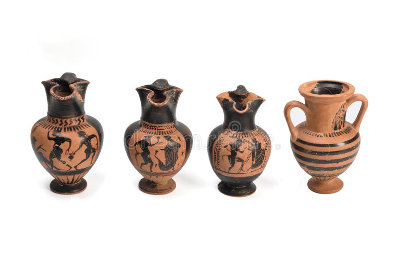 Collection Of Original Greek Vase From Archaeological Stock Photo