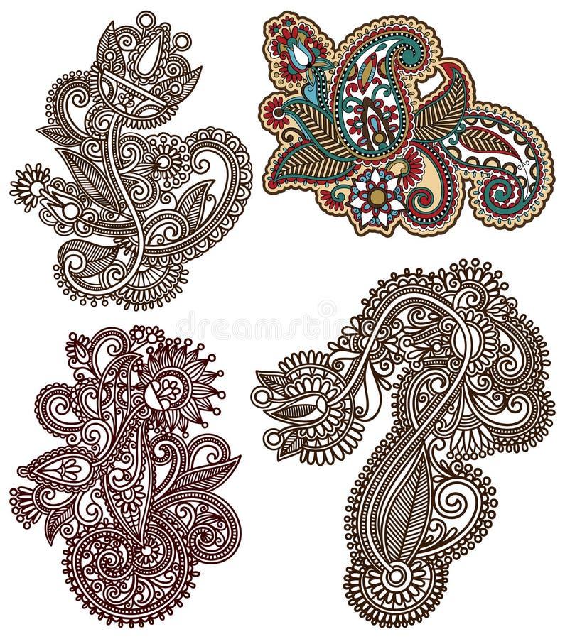 Collection of original hand draw line art ornate. Flower design. Ukrainian traditional style vector illustration
