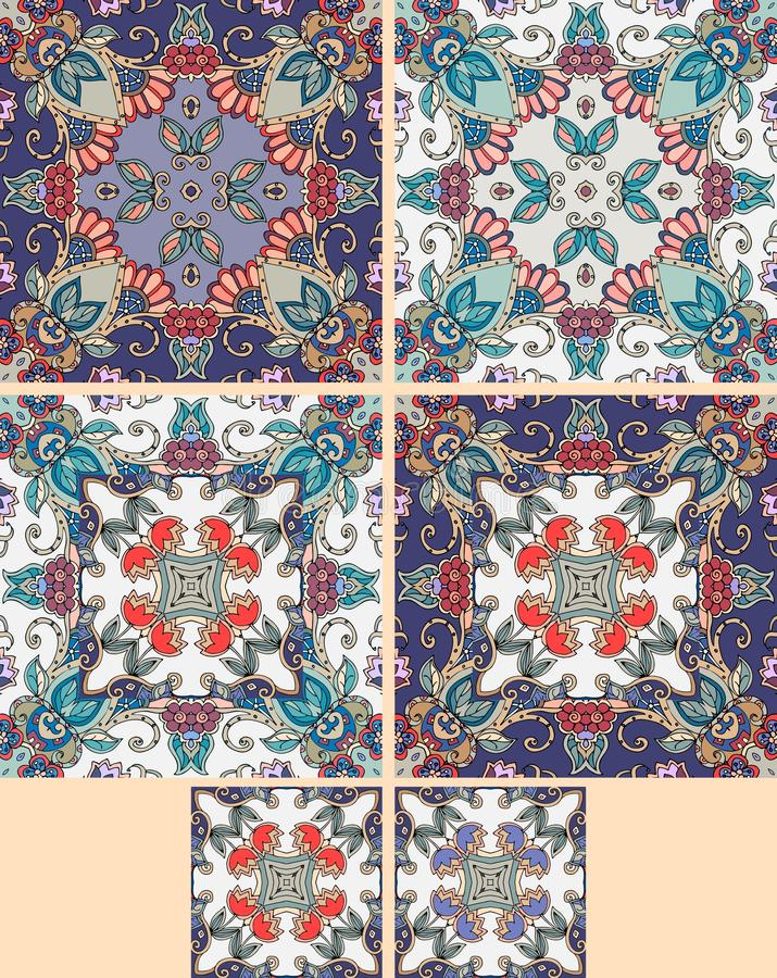 Collection of ornamental ceramic tiles. Moroccan motif royalty free illustration