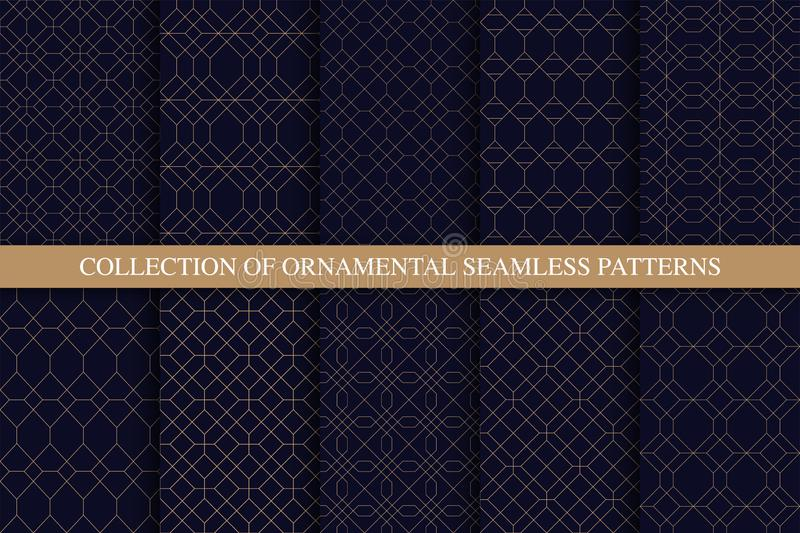 Collection of ornamental seamless stylish patterns. Grid geometric luxury blue backgrounds. Linear rich golden textures royalty free illustration