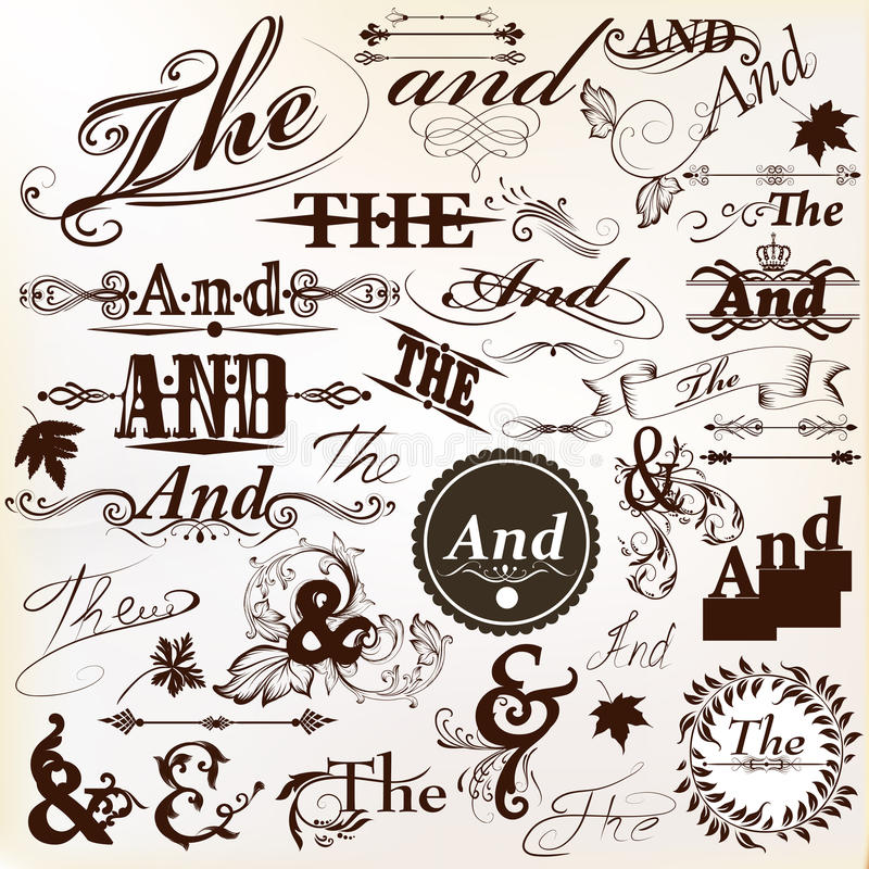Collection of ornate vector Ands and thes perfect for headlines. Vector set of calligraphic ands and the elements for design. Calligraphic vector stock illustration