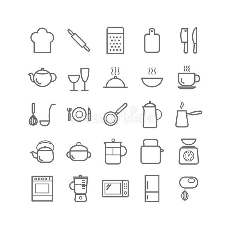 Collection Of Outline Kitchen Icons. Thin Linear Icons For