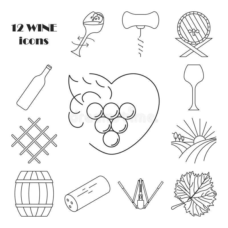 Collection of outline wine icons stock illustration