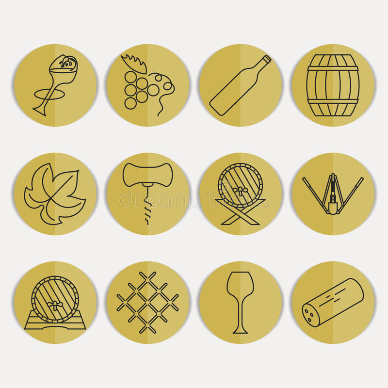 Collection of outline wine icons royalty free illustration