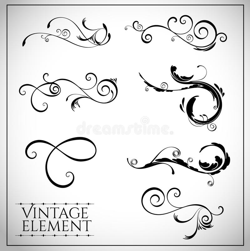 Collection of page dividers and ornate headpieces. Vintage style vector illustration vector illustration