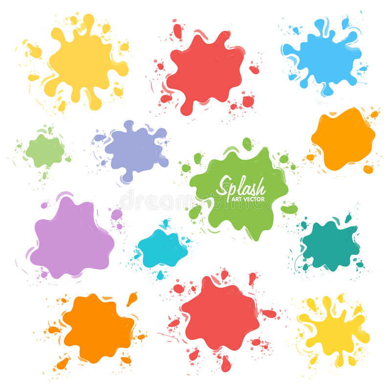 Collection of paint splash. Vector set of brush strokes. Isolated on white background royalty free illustration