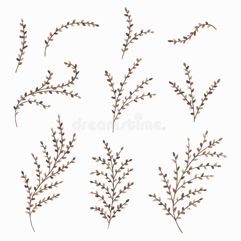 Set of painted watercolor autumn leaves and twigs. Floral decorative elements for design. Vector illustration. Collection of painted watercolor autumn leaves vector illustration