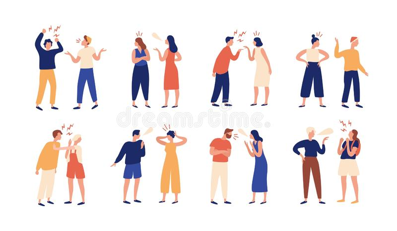 Collection of pairs of people during conflict or disagreement. Set of men and women quarreling, brawling, bickering vector illustration