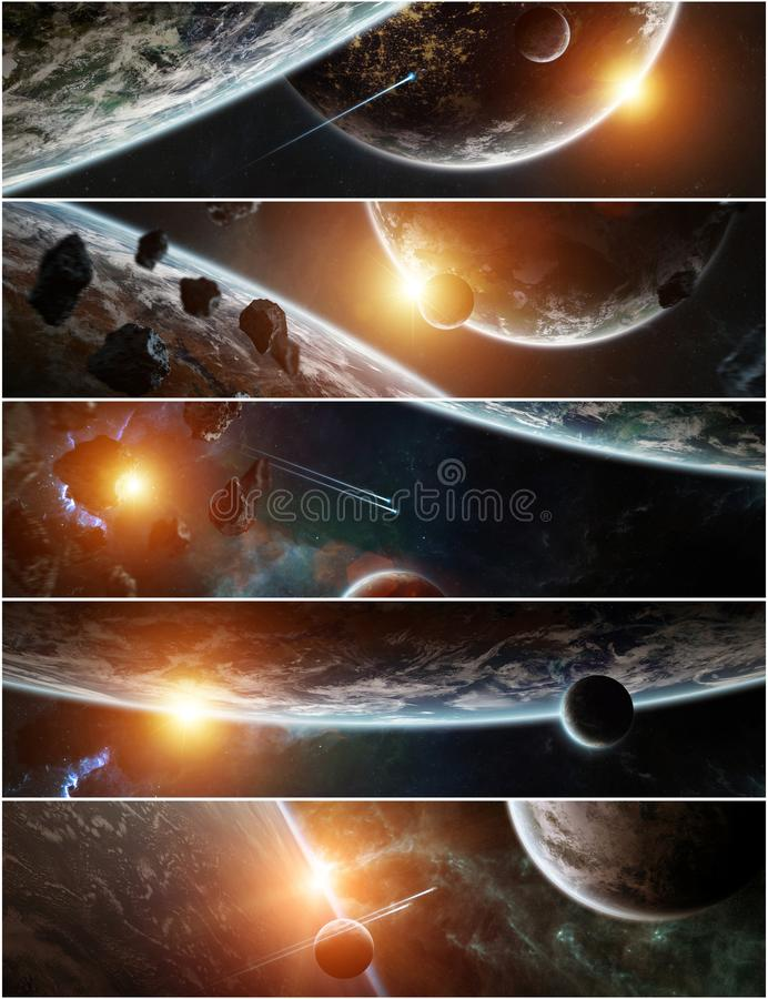 Panorama of distant planet system in space 3D rendering elements of this image furnished by NASA stock illustration