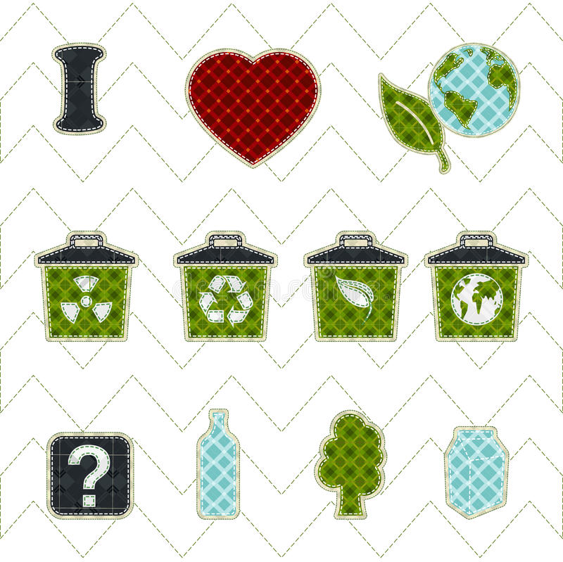 Collection patchwork concept of environment icons