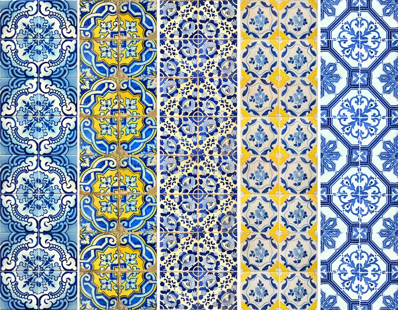 Collection of patterns tiles lines in blue and yellow. Photograph of traditional portuguese tiles with different pattern in blue and yellow stock image