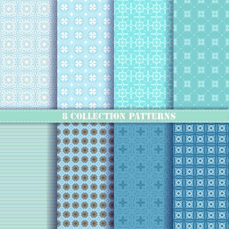 Collection 8 patterns vector blue stock illustration