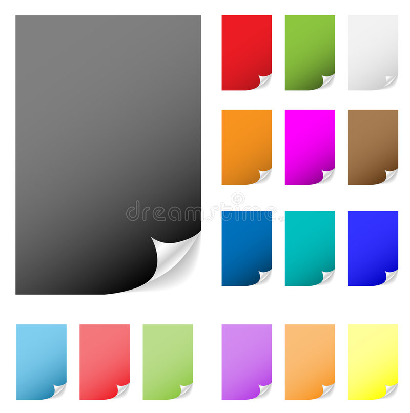 Sticky notes paper peeled, peel of page, pages peeling, corner turn, vector icon background sticker curl shadow design sheet label stock illustration