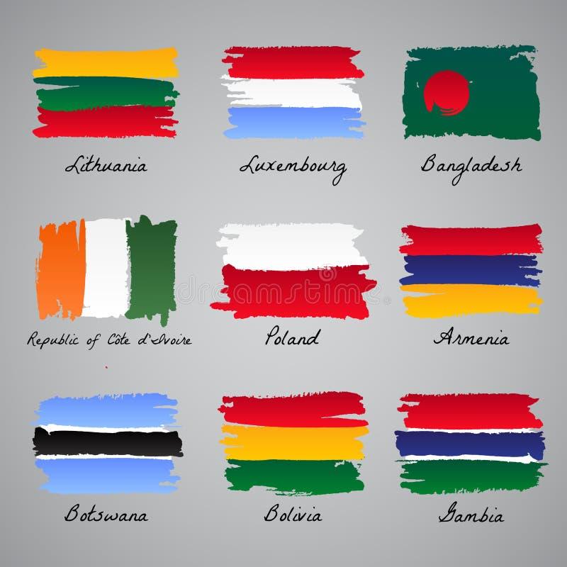 Collection peinte à la main de drapeau de nation illustration de vecteur