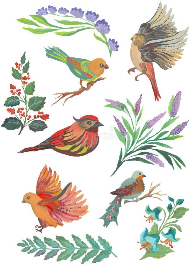 Collection peinte par aquarelle d'oiseaux et de plumes Éléments tirés par la main de conception d'isolement sur le fond blanc illustration libre de droits