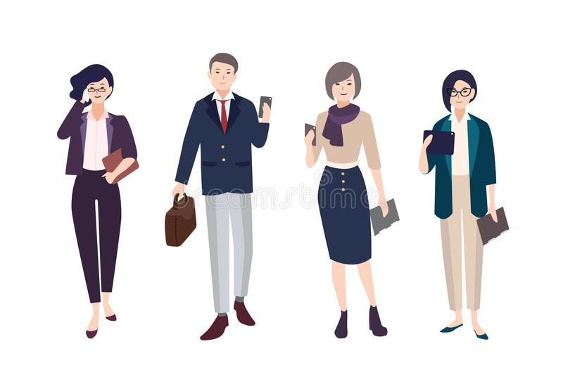Collection of people dressed in smart clothing. Set of male and female clerks or office workers. Bundle of men and women. Wearing business clothes with gadgets royalty free illustration