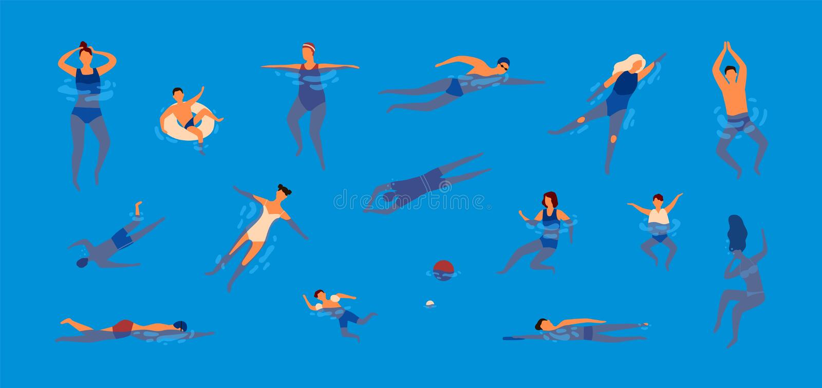 Collection of people dressed in swimwear in swimming pool. Bundle of men and women in swimsuits performing water royalty free illustration