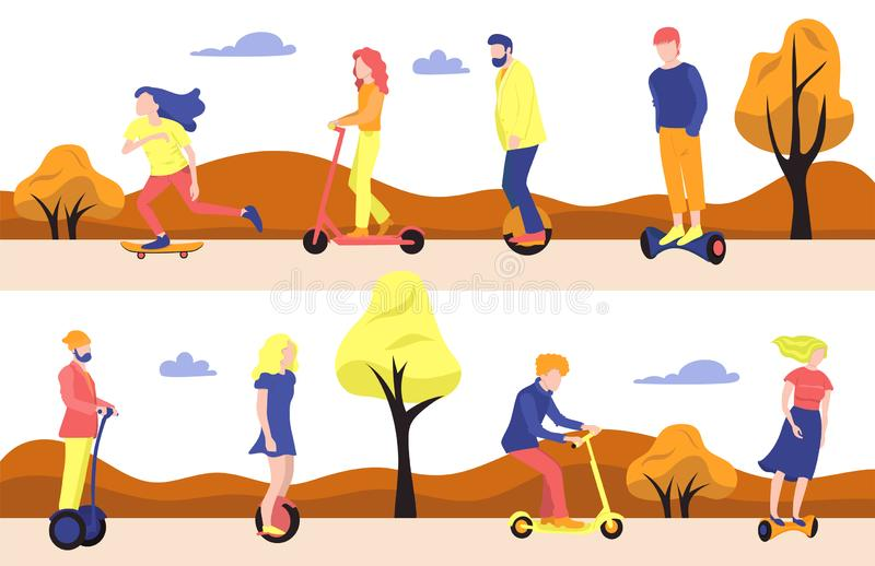 Collection of people on ecological transport. Vector graphics. Collection of people on ecological transport. Vector image stock illustration