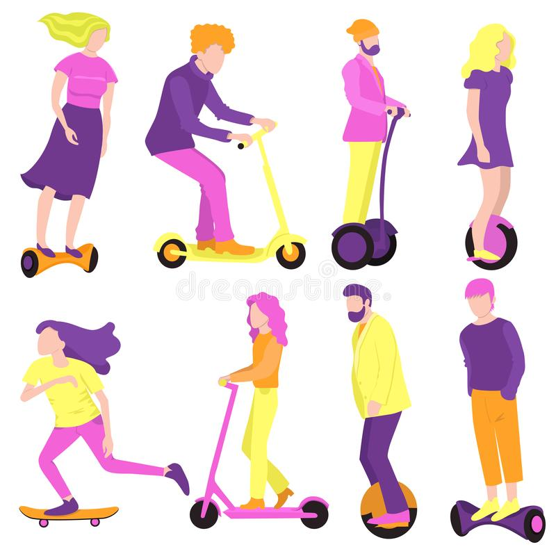 Collection of people on ecological transport. Vector graphics. Collection of people on ecological transport. Vector image vector illustration