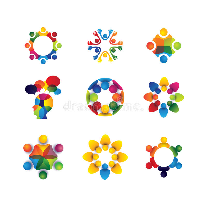 Collection of people icons in circle - vector concept unity, sol stock illustration