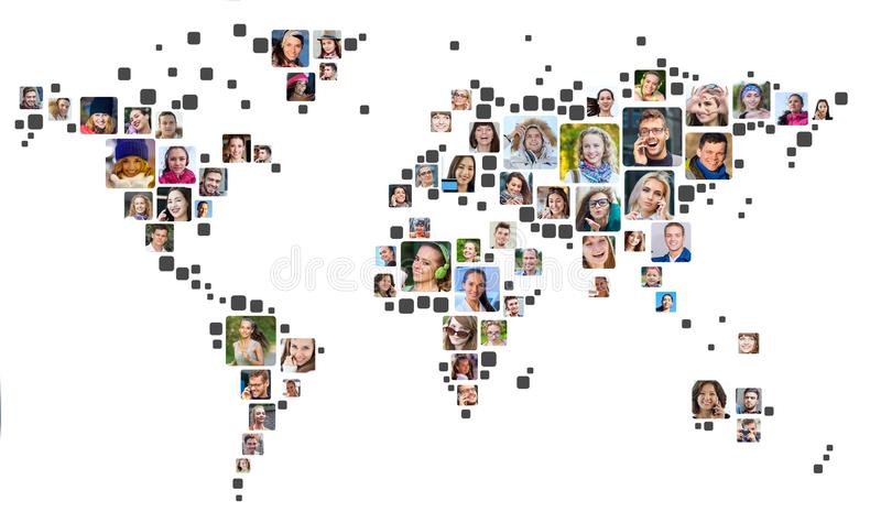 Collection of people portraits placed as world map shape. Global Business Concept stock images